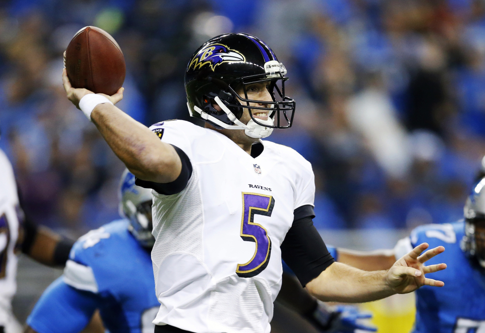 Baltimore Ravens quarterback Joe Flacco, who was hit by a defensive lineman's helmet Monday night, will wear a knee brace Sunday against the New England Patriots.