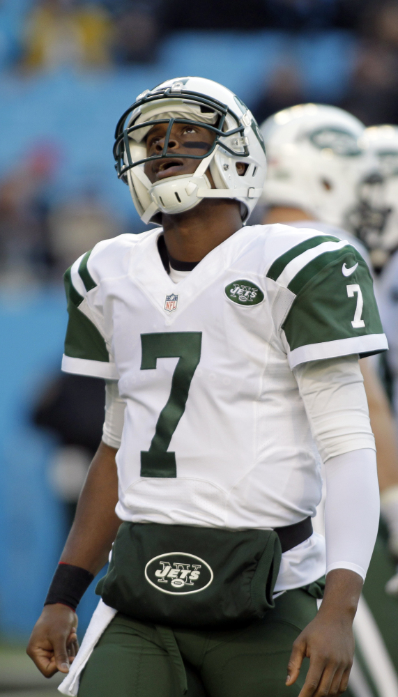 Geno Smith hasn't always looked at ease this season, as seemed the case in last Sunday's loss to Carolina, when the young quarterback was sacked twice by Captain Munnerlyn.