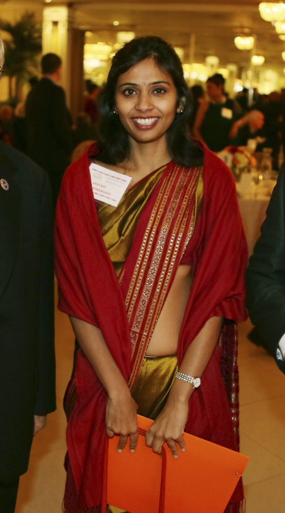 This Dec. 8, 2013, photo shows Devyani Khobragade, India's deputy consul general, during a fundraiser at Stony Brook University on Long Island, New York.