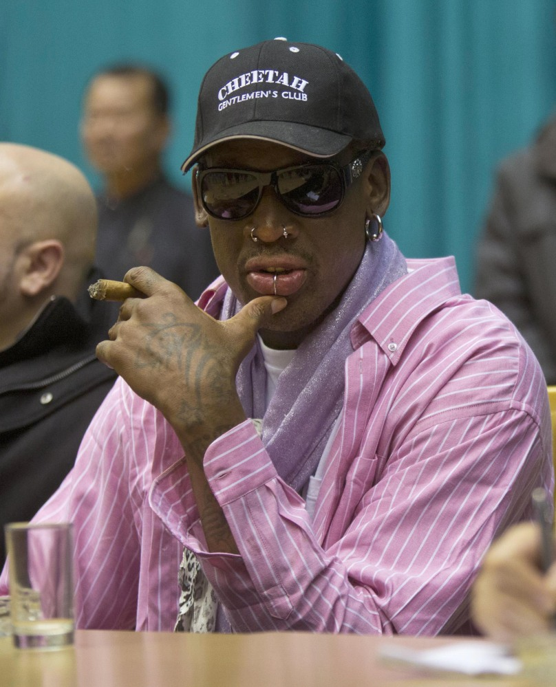 Dennis Rodman watches potential players in Pyongyang, North Korea, on Friday.