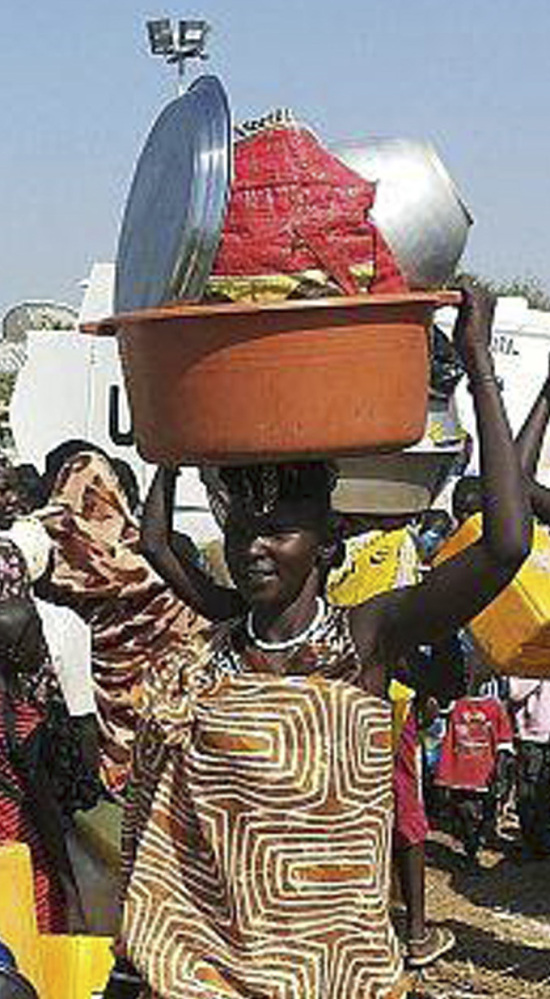 A refugee arrives at the compound of the United Nations Mission in the Republic of South Sudan on Wednesday.