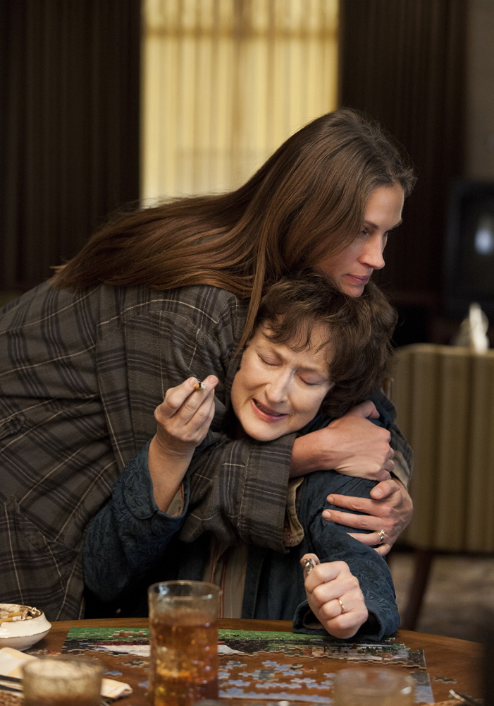"Julia Roberts, top, and Meryl Streep in ""August: Osage County."""