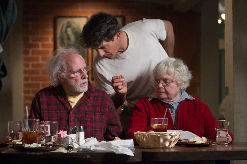 "Bruce Dern, left, with June Squibb and Alexander Payne in ""Nebraska."""