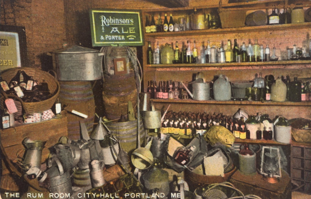 The Rum Room in Portland City Hall, where confiscated liquor and liquor-making equipment was stored, from a postcard mailed in 1928.
