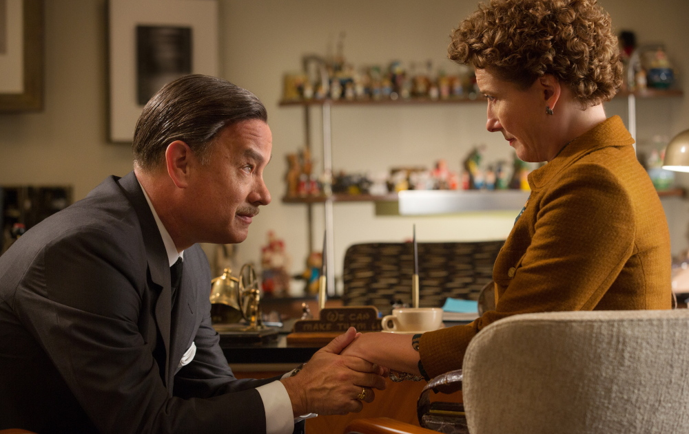 """Tom Hanks as Walt Disney and Emma Thompson as author P.L. Travers in a scene from """"Saving Mr. Banks."""""""