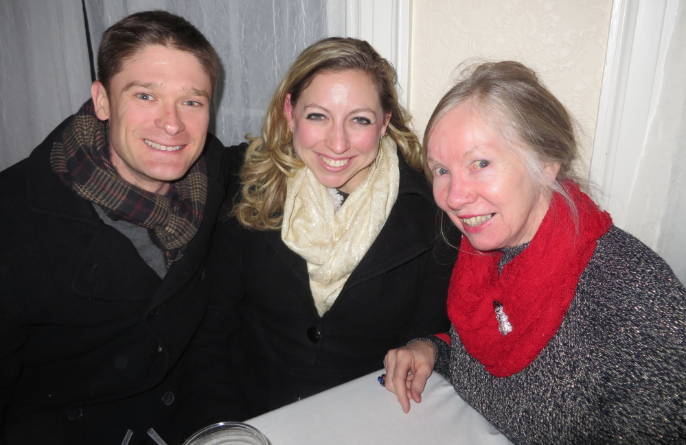 Newly engaged couple Preston Hieb and Elle Litwinetz of Boston with Elle's mother, Mary Litwinetz of Saco.