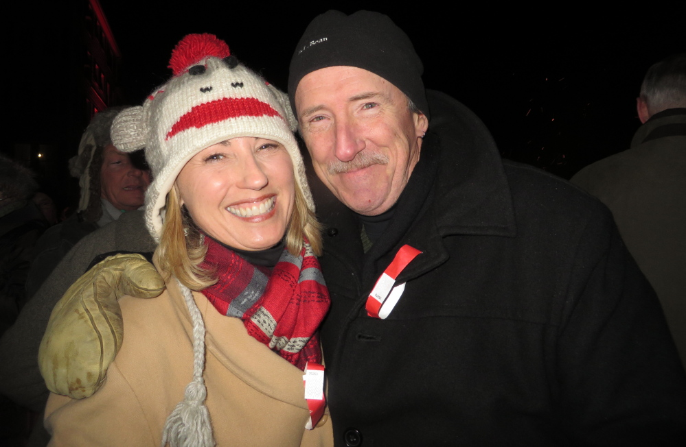 Teri Collard and Paul Coughlin of Kennebunkport enjoy the bonfire.