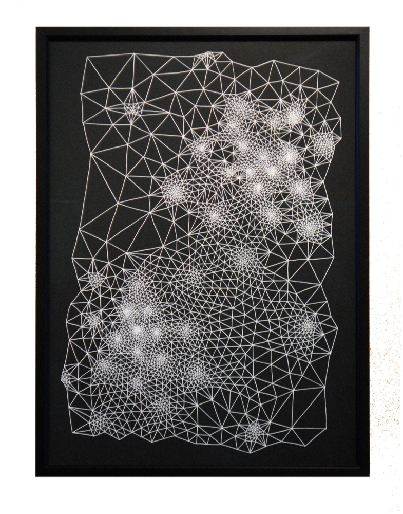Clint Fulkerson's drawing are presented in black ink on white paper, or white on black.