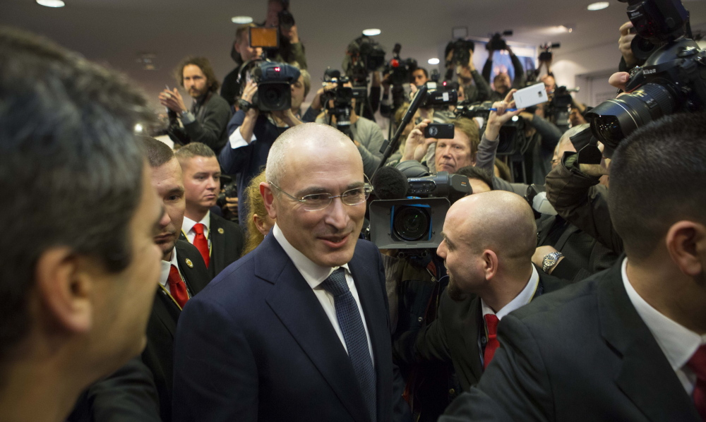 Mikhail Khodorkovsky arrives at a news conference Sunday in Berlin after his release from a Russian prison. He had been convicted in 2003 of fraud and tax evasion, in a case his supporters say was orchestrated by the Kremlin.