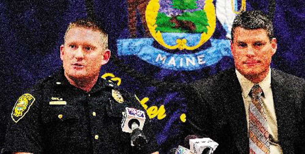 Augusta Deputy Police Chief Jared Mills, left, and State Police Lt. Chris Coleman answer questions during a news conference in October 2012 in Augusta in which they announced a break in the Blanche Kimball case.