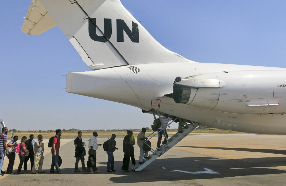 The United Nations Mission in South Sudan relocates non-critical staff from Juba, South Sudan, on Sunday. Civilian helicopters evacuated U.S. citizens from the violent South Sudan city of Bor, capital of Jonglei state.