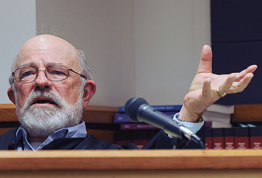 Montana District Judge G. Todd Baugh presides at a hearing in this undated photo.