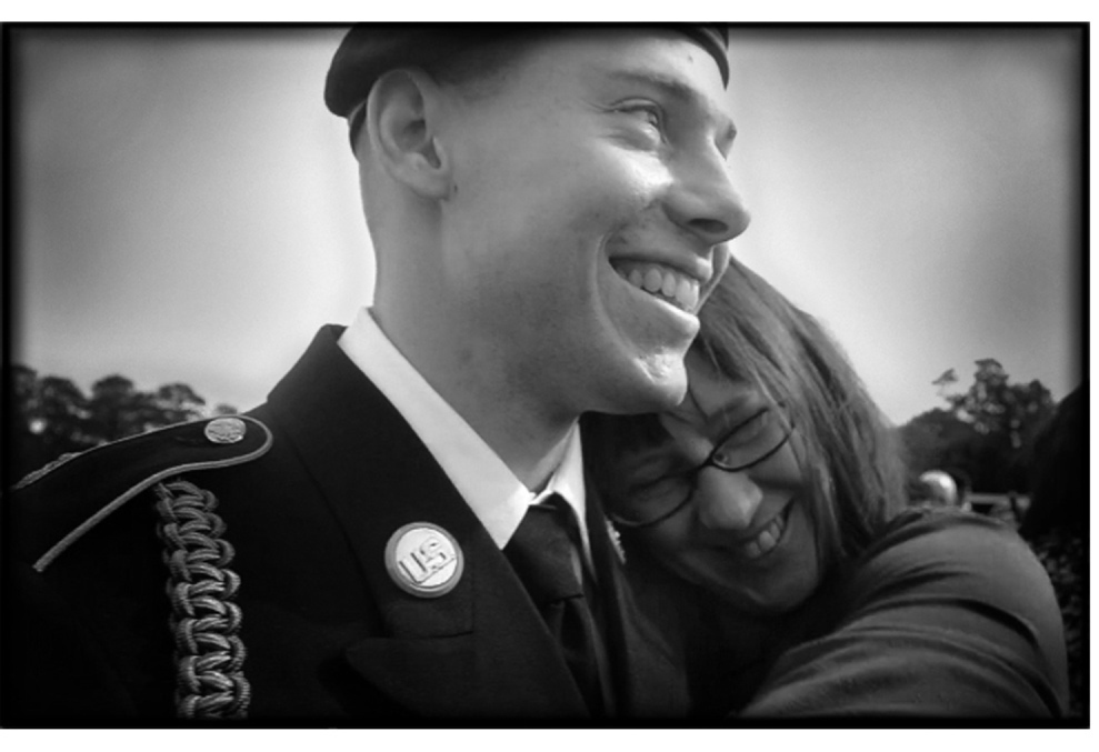Spc. Kevin McCord of Cumberland with his mother, Su Sepples, at his Turning Blue ceremony at Fort Benning, Ga., on Oct. 31.