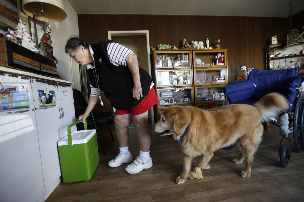 Sherry Scott and her dog both receive food from Meals on Wheels.