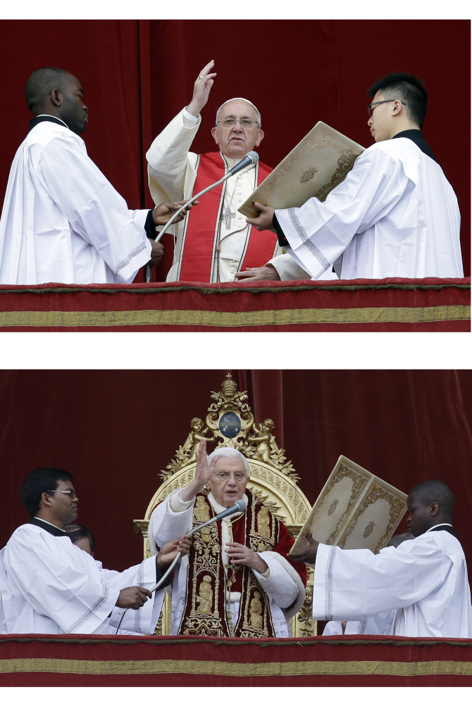 """In this combined picture Pope Francis, top, and Pope Benedict XVI deliver their """"Urbi et Orbi"""" (to the City and to the World) message from the central balcony of St. Peter's Basilica at the Vatican, respectively on Wednesday, Dec. 25, 2013 and Tuesday, Dec. 25, 2012. The 77-year-old Francis kept to the style simplicity he has set for his papacy. Wearing a plain white cassock, Francis presented a sharp contrast in appearance when compared to the pope who stood on the same balcony on Christmas exactly a year ago. Then Benedict XVI, who was soon to stun the world with his retirement last winter, read his Christmas speech while dressed in a crimson, ermine-trimmed cape."""