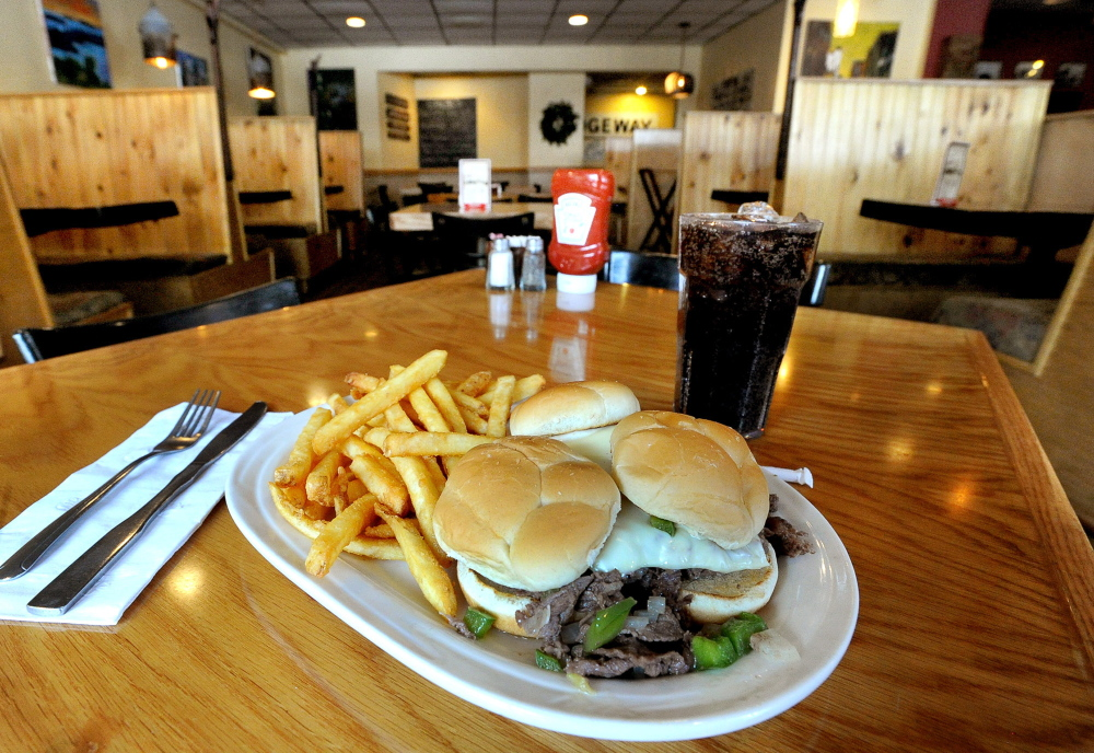 The Bridgeway Restaurant's steak sliders special. The restaurant is an institution in its South Portland neighborhood.