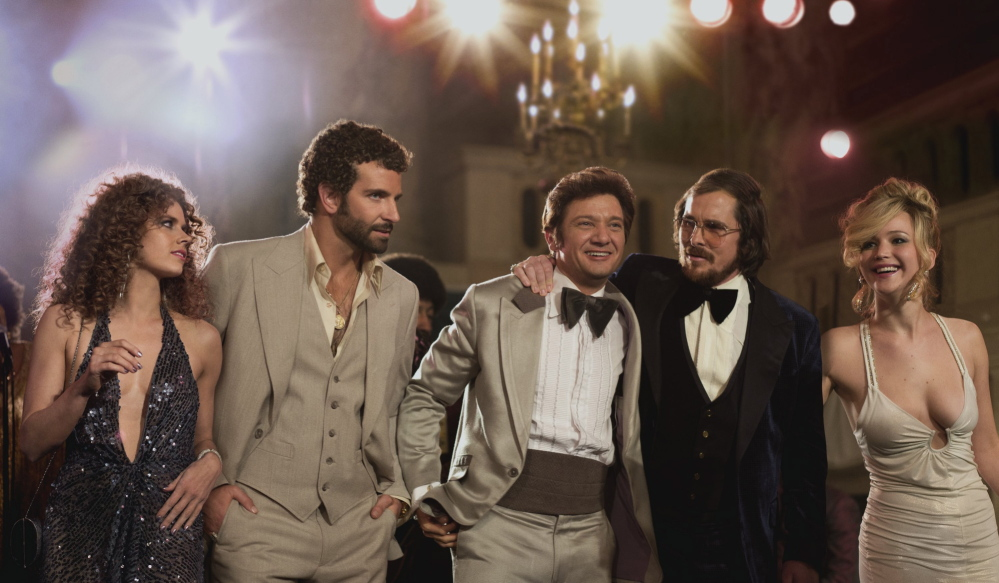 """American Hustle"" stars, from left, Amy Adams, Bradley Cooper, Jeremy Renner, Christian Bale and Jennifer Lawrence."