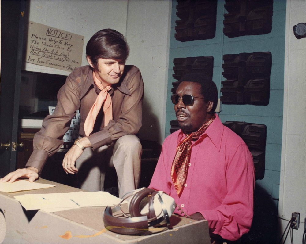 The blues and soul singer Clarence Carter with producer Rick Hall at Hall's Fame Studios in Muscle Shoals, Ala.