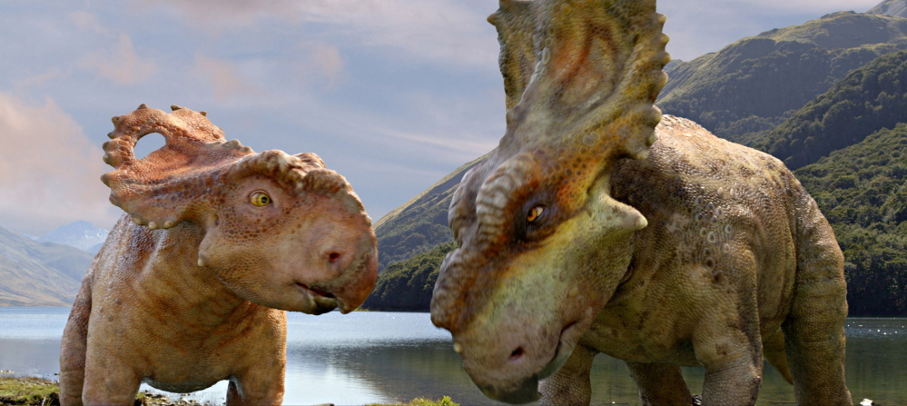 "Patchi, left, appears with his older brother Scowler in a scene from the film ""Walking with Dinosaurs."""