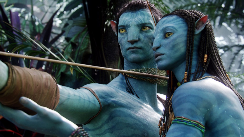 "Neytiri, voiced by Zoe Saldana, right, and Jake, voiced by Sam Worthington, are shown in a scene from ""Avatar."" Director James Cameron announced plans to shoot and produce the next three ""Avatar"" sequels largely in New Zealand. What Cameron gets out of the deal is a 25 percent rebate on production costs, as long as his company spends at least $413 million."