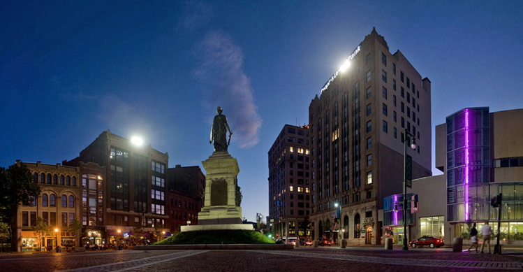 """Monument Square Panorama (Night)"" by Corey Templeton, 2011."