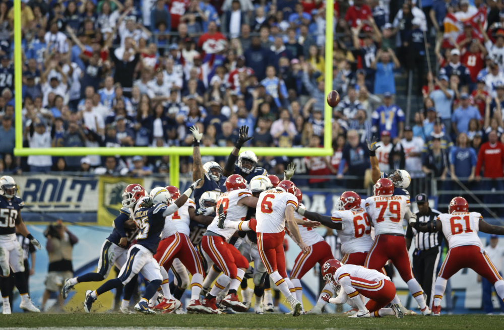 Kansas City Chiefs kicker Ryan Succop misses the possible game-winning field goal against the San Diego Chargers during the closing seconds of regulation of an NFL football game, Sunday.