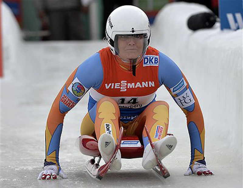 Julia Clukey starts during the women's race of the luge World Cup in Winterberg, Germany, on Dec. 1. She hopes to earn a berth in the upcoming Sochi Winter Olympics.