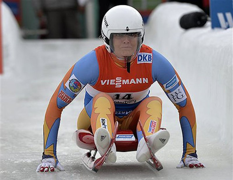 Julia Clukey starts during the women's race of the luge World Cup in Winterberg, Germany, on Dec. 1.