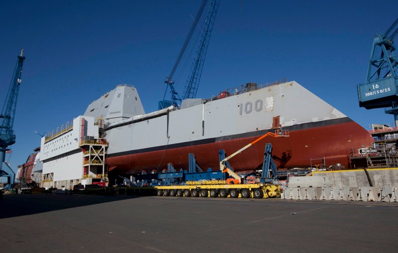 In this photo made Tuesday, Oct. 8, 2013, the first-in-class Zumwalt, the largest U.S. Navy destroyer ever built, is seen at Bath Iron Works in Bath, Maine. The two-year budget deal pending before Congress could benefit Maine's defense industry