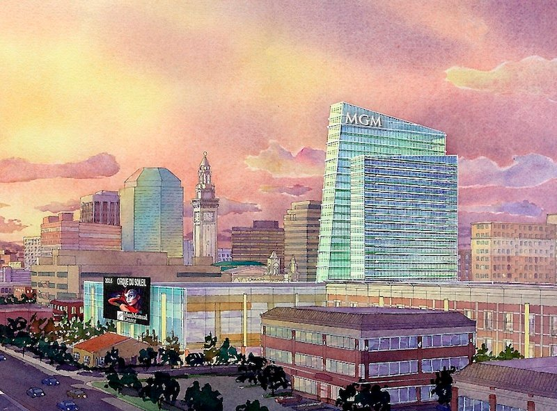 This Wednesday, Aug. 22, 2012 file photo of an artist rendering provided by MGM Resorts International via The Republican shows part of a proposed casino complex in Springfield, Mass. MGM Resorts International was cleared by state gambling regulators on Monday, Dec. 23, 2013, to pursue a casino in Springfield. The five-member Massachusetts Gaming Commission issued a positive determination of suitability for MGM, saying the company had met its standards in several areas including honesty and integrity, and financial stability.