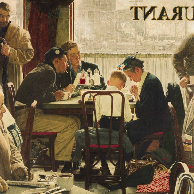 """""""Saying Grace"""" is among the popular works by artist Norman Rockwell, whose family has questioned some of the facts in a new biography."""