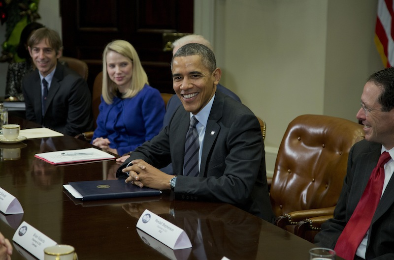 President Barack Obama meets with technology executives in the Roosevelt Room the White House in Washington, Tuesday, Dec. 17, 2013. From left are, Mark Pincus, founder, Chief Product Officer & Chairman, Zynga; Marissa Mayer, President and CEO, Yahoo!, Obama, and Randall Stephenson, Chairman & CEO, AT&T.