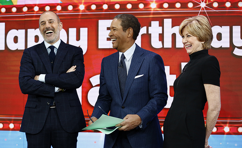 This image released by NBC shows, from left, host Matt Lauer with guest hosts, Bryant Gumbel and Jane Pauley, on NBC News'