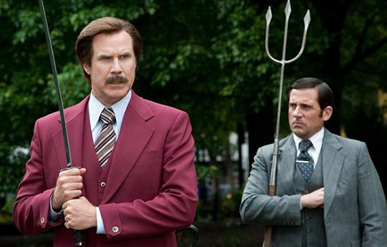 "Will Farrell, left, as Ron Burgundy and Steve Carell as Brick Tamland in ""Anchorman 2: The Legend Continues,"" opening Wednesday."