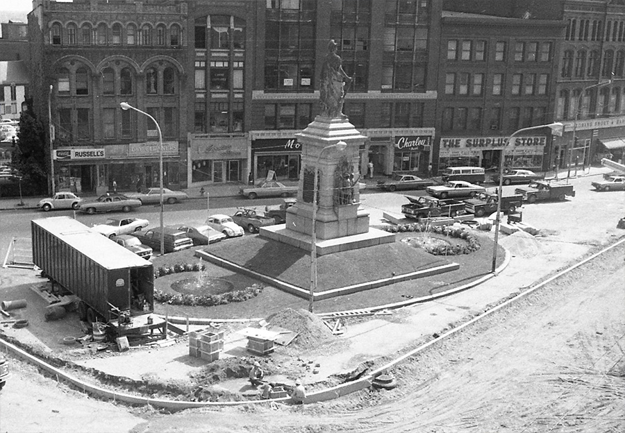 Flashback photo of Monument Square from the Portland Public Library. Tuesday, December 3, 2013. John Patriquin/Staff Photographer. Flashback