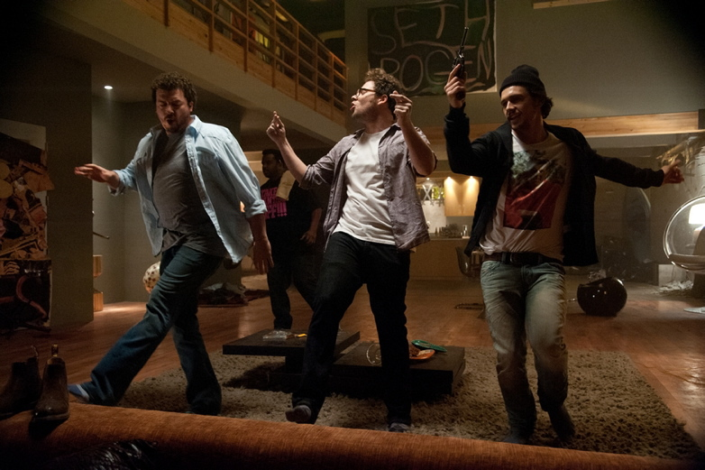 "Funny stuff: Danny McBride, left, Seth Rogen and James Franco in ""This Is The End."""