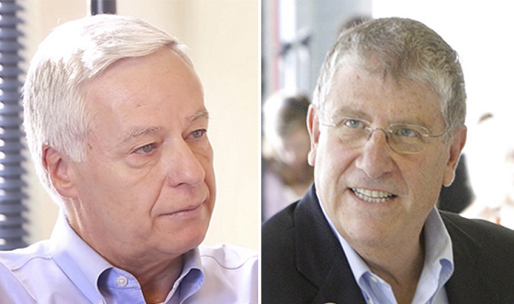 Gubernatorial candidates U.S. Rep. Mike Michaud, left, and Eliot Cutler