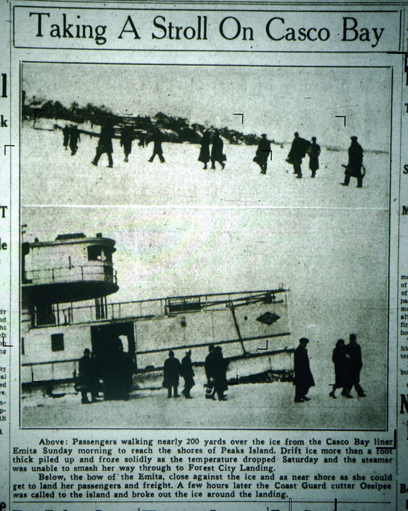 A photo from a microfilm machine of a front-page story with photos of Casco Bay Lines boat Emita stuck in the ice more than 200 yards from Peaks Island in a Portland Press Herald front-page photo published Feb. 26, 1934. The boat's passengers are walking across the ice to get to the island. The frigid winter of 1934 saw many harbors around Casco Bay frozen solid.
