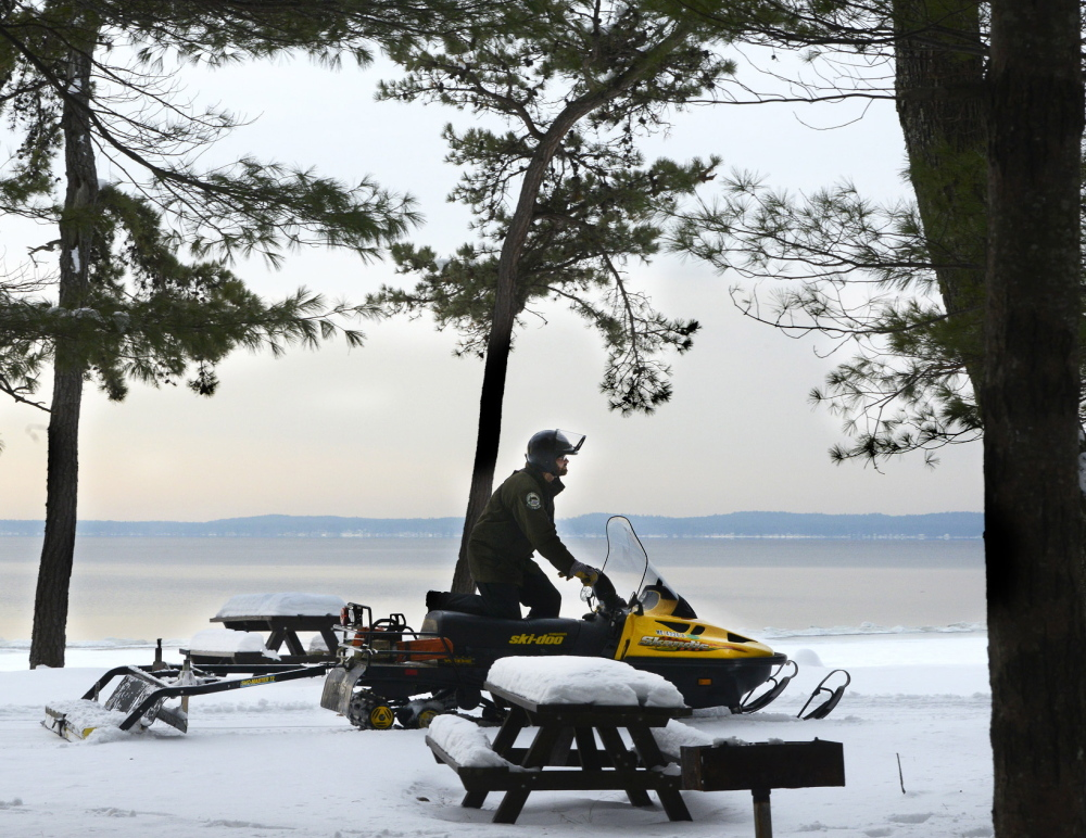 Sebago Lake State Park manager Matt McGuire grooms cross country ski trails in the park for winter use. The park is one of several that will receive a visit from the state's ski trailer, which will offer free loans of skis and snowshoes to park patrons.