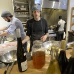 From left, chefs Ryan Quigley, David Levi and Kate Whittemore work Friday in the kitchen at Vinland, a new restaurant in Portland. For Levi, the owner, it's his first attempt to open a restaurant.