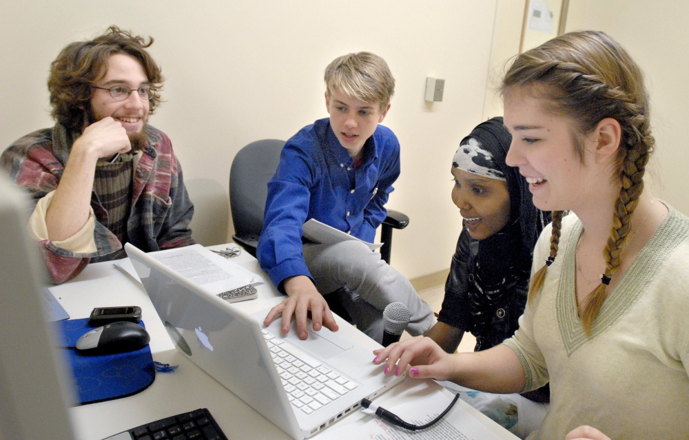 Casco Bay High School juniors work on a multimedia project in 2009. Portland's Casco Bay High School will expand its physical space this year, allowing it to increase enrollment in the fall.