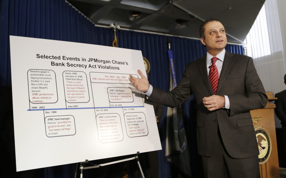 "U.S. Attorney Preet Bharara announces a settlement with JPMorgan Chase & Co. on Tuesday in New York. ""Despite all these alarm bells, JPMorgan never closed or even seriously questioned Madoff's Ponzi-enabling 703 account,"" Bharara said."
