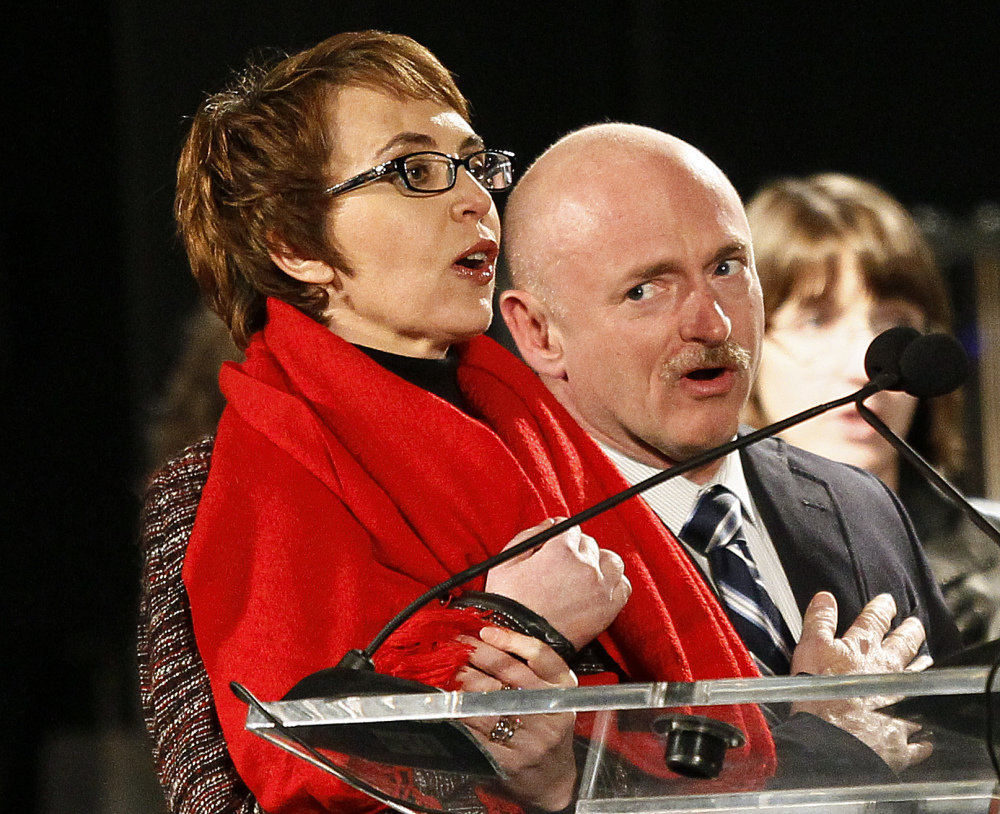 The three-year anniversary of the shooting of Gabrielle Giffords will be marked Wednesday Jan. 8, 2013 with bell-ringing, flag-raising and other ceremonies, providing a moment of reflection for the former congresswoman. Giffords and Kelly plan to mark the anniversary privately with friends and other survivors of the attack. )