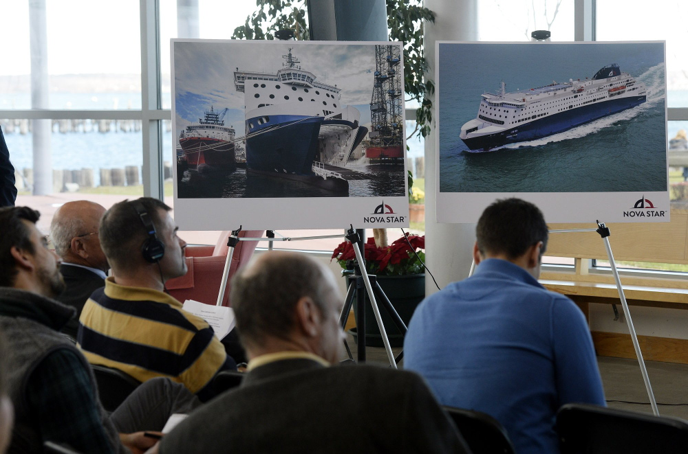 Nova Star photographs are displayed during a media event last year at Ocean Gateway. The Portland terminal will need a new gateway and other upgrades to get it ready for the ferry.