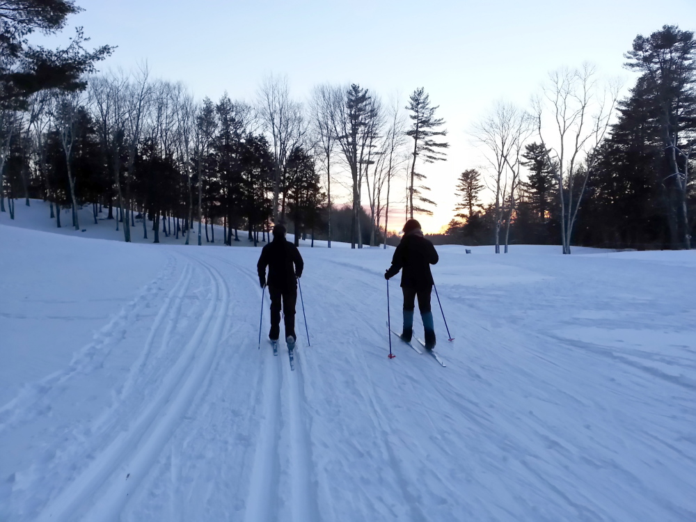 The trails at Riverside Golf Course in Portland are groomed for both classic and skate skiing.