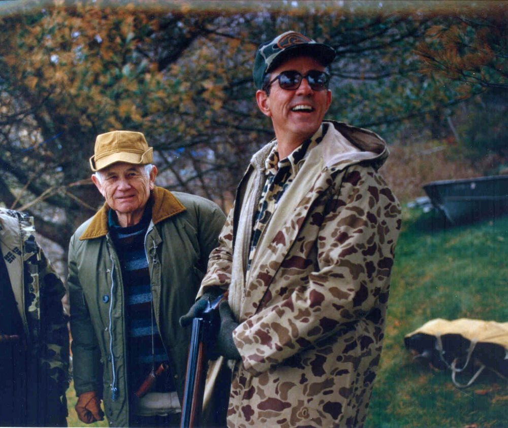 Source:L.L. Bean Archive Leon Gorman, right, grandson of L.L. Bean, and George Soule, left, a renowned craftsman of decoys, hunt on Lanes Island in the 1980s. A statewide group announced Monday that Gorman has donated the 28-acre, unoccupied island to be preserved for the public's use.