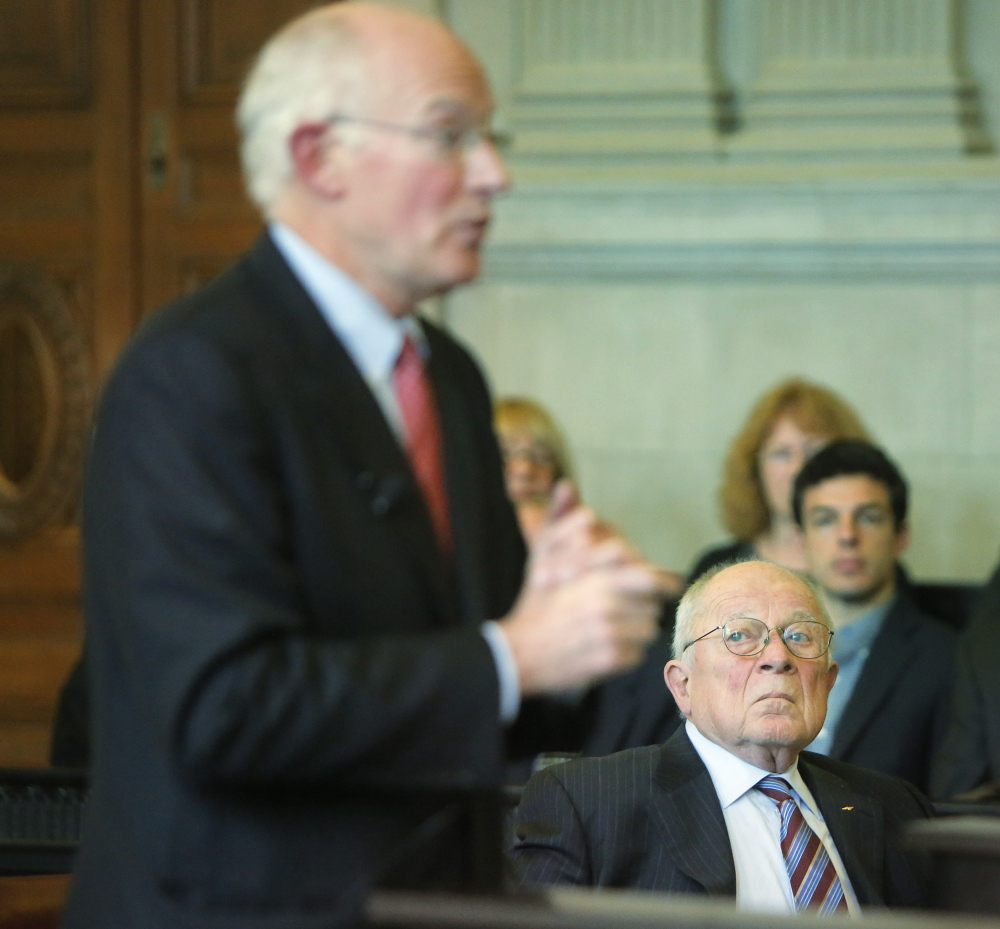 F. Lee Bailey listens as his attorney, Peter DeTroy, address justices at the Maine Supreme Judicial Court in Portland on Tuesday.