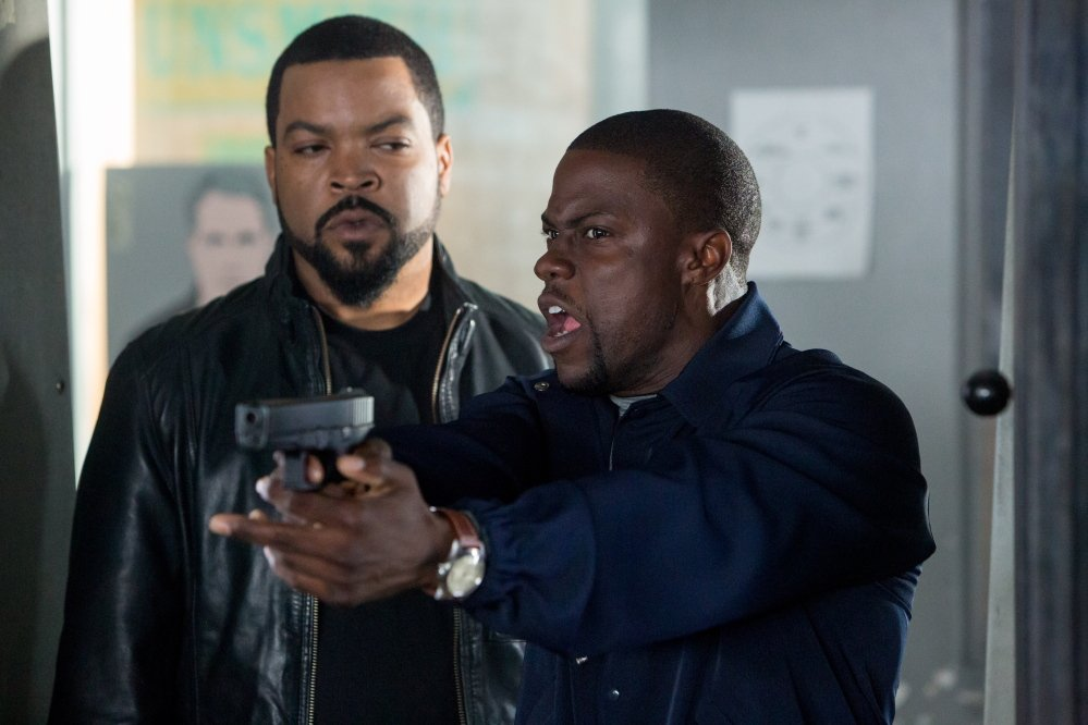 "Kevin Hart, right, with co-star Ice Cube, hopes to achieve Jay Z status, to have an ""impact on society."""