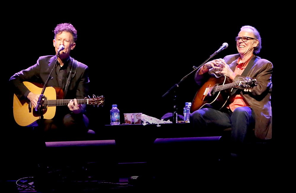 Lyle Lovett, left, and John Hiatt packed the house during a performance Wednesday at Merrill Auditorium in Portland.
