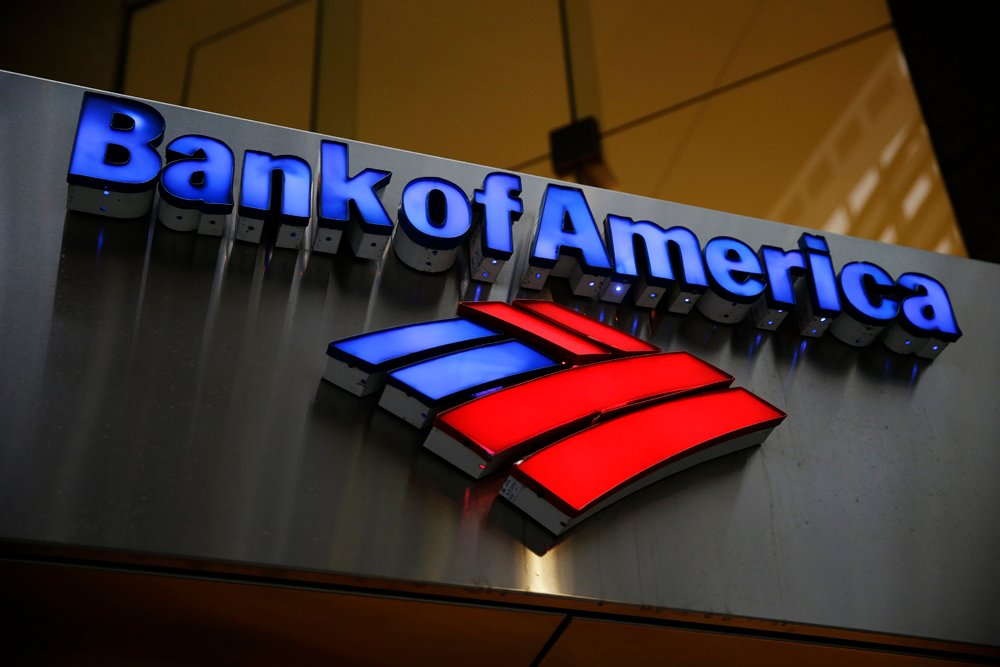 A Bank of America sign is displayed in Philadelphia.